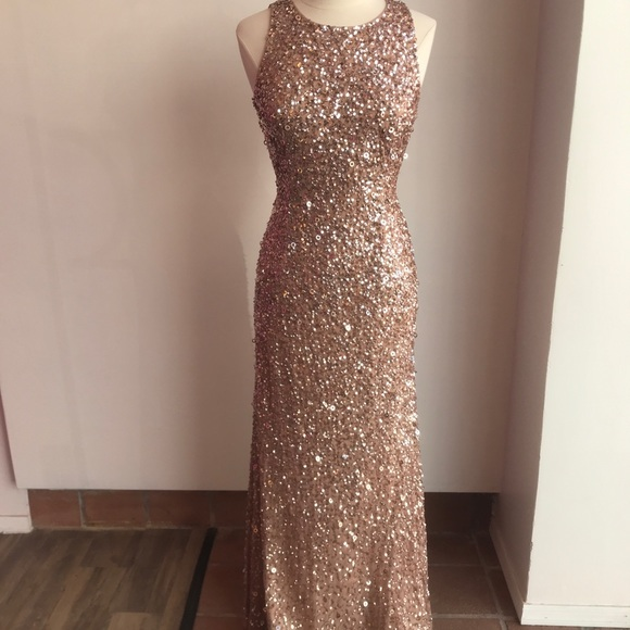 Adrianna Papell Dresses Rose Gold Sequin Gown Ape21752 Poshmark